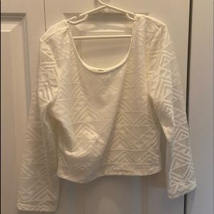 white long sleeve mesh crop too